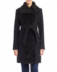 Vince Camuto Faux Fur Collared Belted Coat