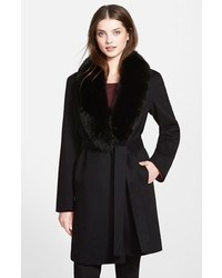 Fleurette Wool Wrap Coat With Genuine Fox Fur Collar