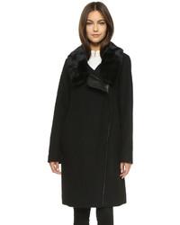 Vince Fur Collar Asymmetrical Coat