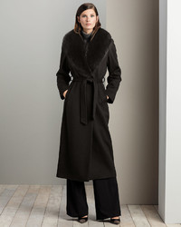 Sofia Cashmere Fur Collar Belted Long Wrap Coat | Where to buy ...