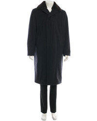 Prada Fur Trim Wool Coat