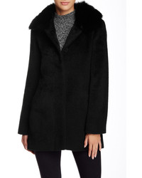 Sofia Cashmere Genuine Dyed Fox Fur Trimmed Club Collar Coat
