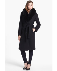 Ellen Tracy Genuine Fox Fur Collar Wool Blend Coat