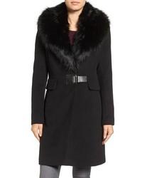 Ivanka Trump Clip Closure Faux Fur Collar Wool Blend Coat