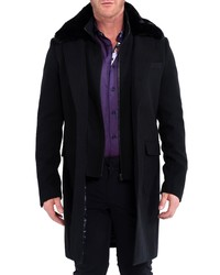 Maceoo Kingfur Wool Peacoat With Faux Fur Collar