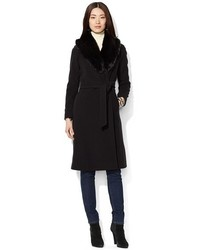 Lauren Ralph Lauren Faux Fur Collar Long Wool Blend Wrap Coat