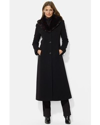 Lauren Ralph Lauren Faux Fur Shawl Collar Long Wool Blend Coat