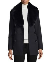 Burberry London Marfield Wool Blend Coat Wdetachable Fur Collar Black