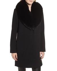 Fleurette Loro Piana Wool Coat With Genuine Fox Fur Collar