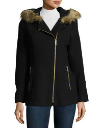 MICHAEL Michael Kors Michl Michl Kors Faux Fur Trim Asymmetric Zip Coat Black