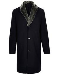 River Island Navy Wool Blend Faux Fur Collar Coat