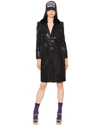Dsquared2 Sequined Coat W Mink Fur Collar
