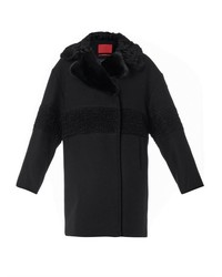 Moncler Gamme Rouge Shearling And Fur Collar Wool Coat