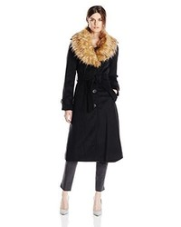 Steve Madden Long Coat With Belt And Removable Faux Fur Collar