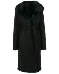 Joseph Tie Waist Fur Trim Coat