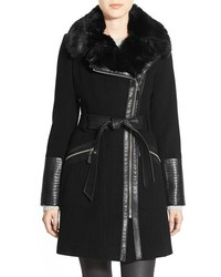 Via Spiga Faux Leather Faux Fur Trim Belted Wool Blend Coat