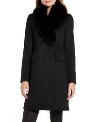 Fleurette Wool Coat With Genuine Fox Fur Collar