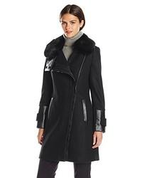 Via Spiga Wool Coat With Ultra Soft Faux Fur Collar