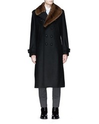 Wooster Lardini Mink Fur Collar Double Faced Wool Coat