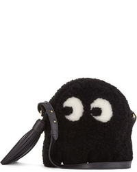 Anya Hindmarch Shearling Fur Ghost Crossbody Bag Black