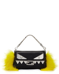 Fendi Baguette Micro Monster Crossbody Bag Blackyellow