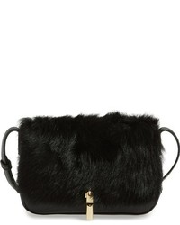 Elizabeth and James Cynnie Leather Genuine Sheep Fur Crossbody Bag Black