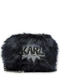 Karl Lagerfeld Faux Fur Shoulder Bag