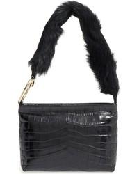 Elizabeth and James Finley Leather Genuine Sheep Fur Shoulder Bag Black