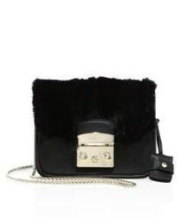 Furla Metropolis Megamix Mini Leather Mink Fur Crossbody Bag