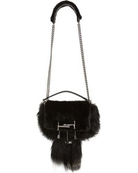 Mini double t genuine fox fur genuine mink shoulder bag black medium 793224