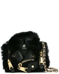 Moschino Faux Fur Biker Crossbody Bag
