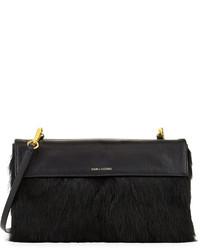 Pour La Victoire Zoe Leather Rabbit Fur Double Sided Clutch Black