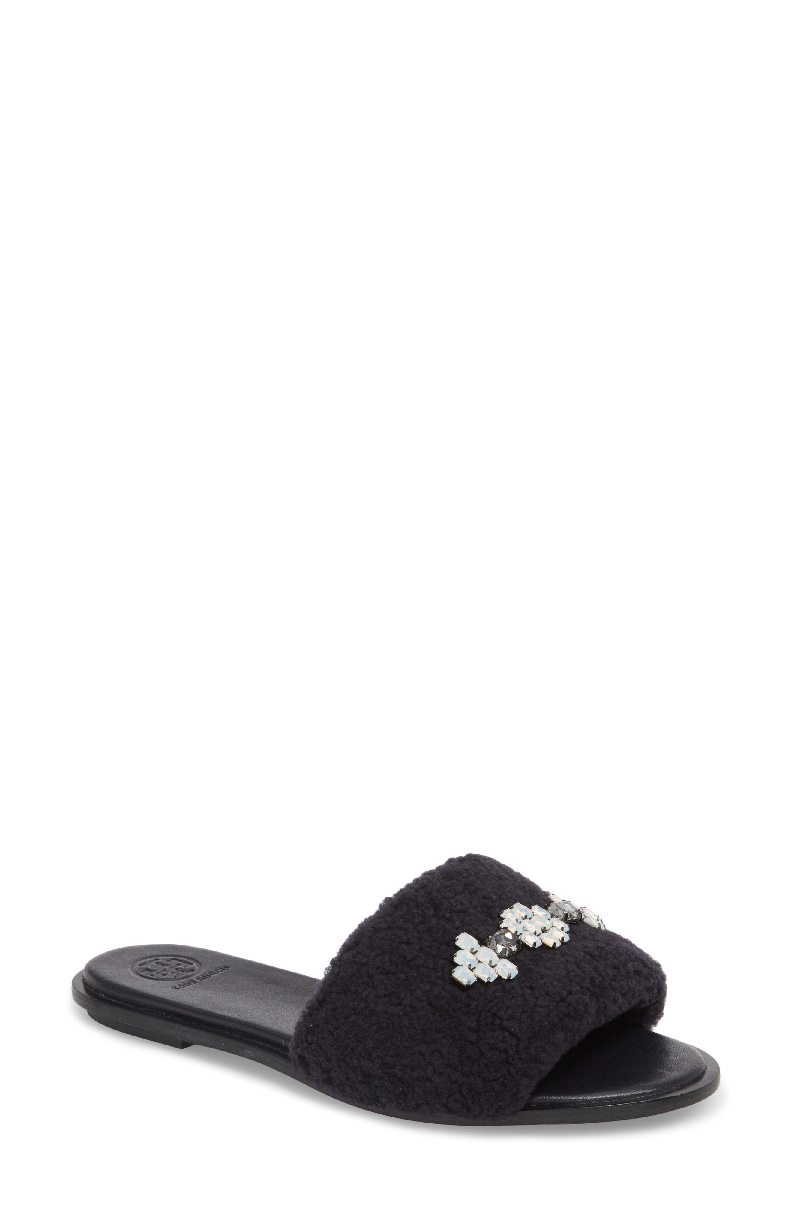 4c35de34df6b ... Flat Sandals Tory Burch Embellished Genuine Shearling Slide Sandal