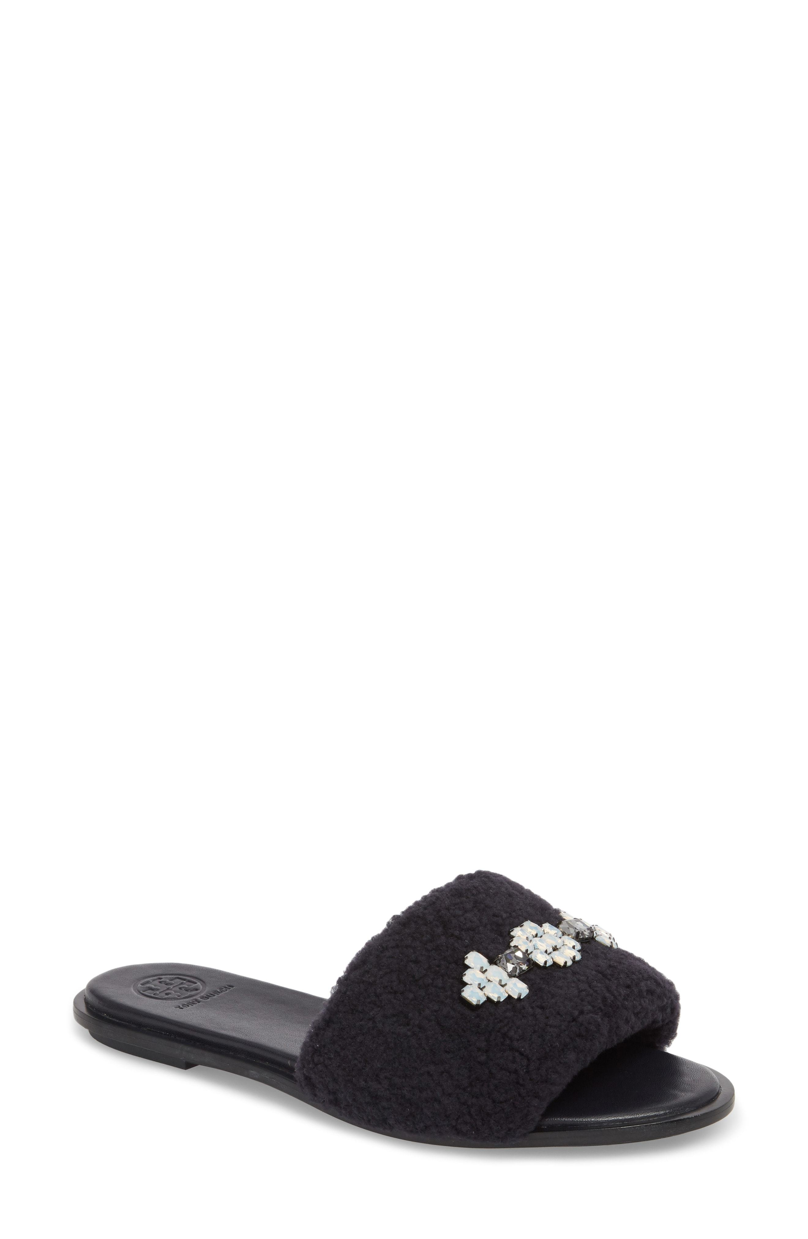 ee1a11b936b ... Sandals Tory Burch Embellished Genuine Shearling Slide Sandal