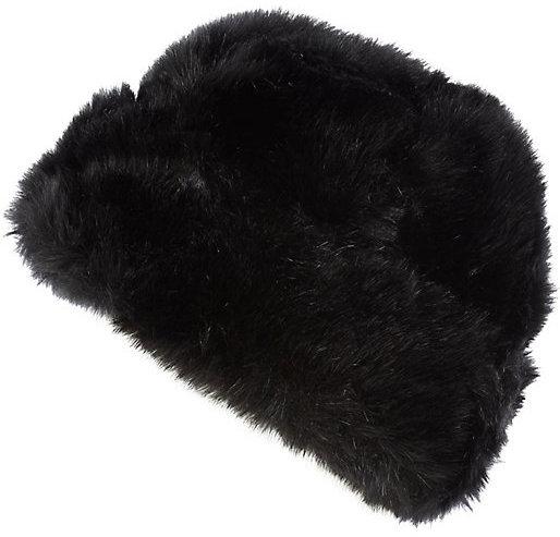 ... River Island Black Faux Fur Beanie Hat 0ce4c58770d