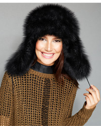 The Fur Vault Black Fox Fur Trapper Hat