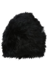 Armani Jeans Black Rabbit Fur Beanie