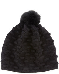 Portolano Bumpy Knit Winter Hat With Fur Pompom Black