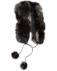Pologeorgis Fox Fur Hat With Pompom Black