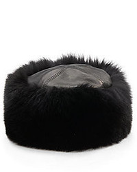 Saks Fifth Avenue BLACK Fox Fur Leather Cuff Hat