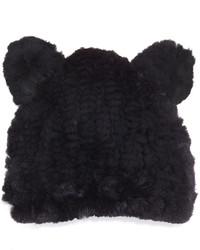 Jocelyn Fur Knit Hat With Ears Black