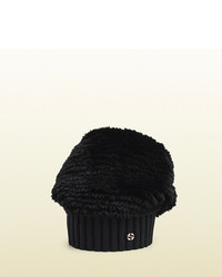 Gucci Black Fur Knitted Wool Hat