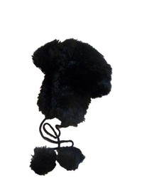 JCP Black Faux Fur Trapper Hat Plush Pom Pom Aviator