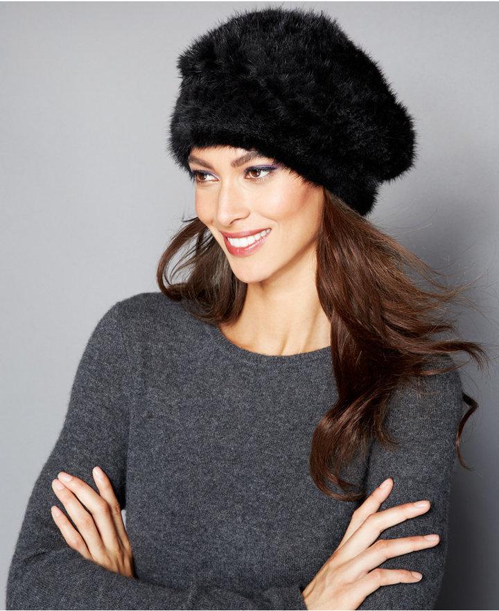 598c4eed86c Women s Fashion › Headwear › Fur Hats › Macy s › The Fur Vault › Black Fur  Hats The Fur Vault Knitted Mink Beret ...