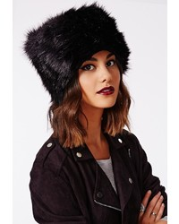 Missguided Raziya Faux Fur Hat Black