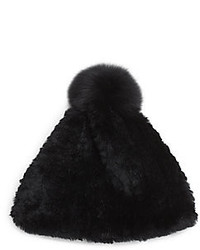 Adrienne Landau Rabbit Fox Fur Pompom Hat
