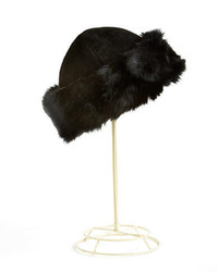Surell Rabbit Fur Trim Suede Hat