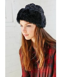 UO Knit Top Fur Toque Hat