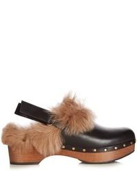 Black Fur Heeled Sandals