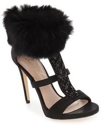 Lauren lorraine angela genuine rabbit fur cuff sandal medium 1158335